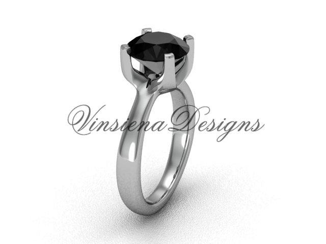 14kt white gold engagement ring,Black Diamond VD10021