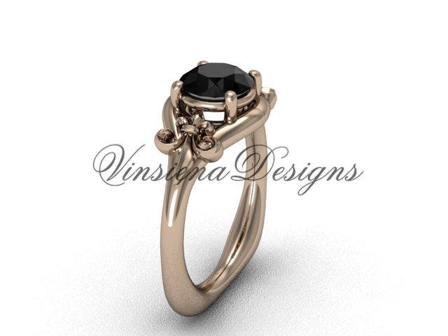 14kt rose gold Fleur de Lis engagement ring,Black Diamond VD10022