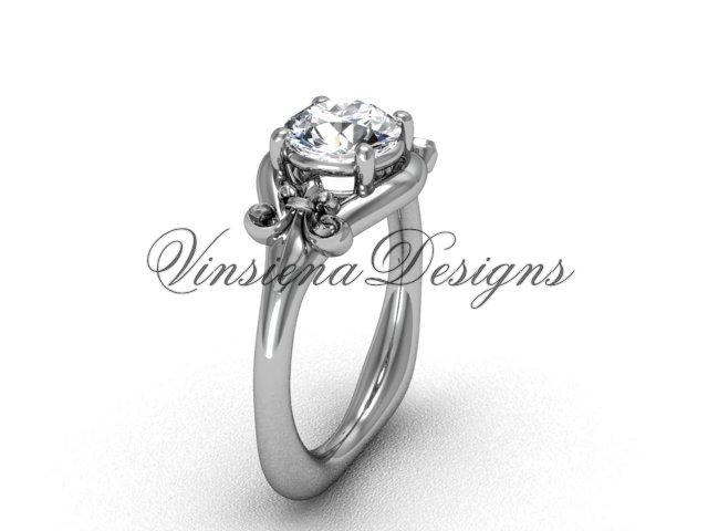 """Platinum Fleur de Lis engagement ring, """"Forever One"""" Moissanite VD10022"""