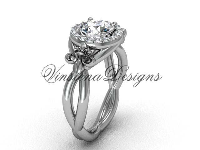 Platinum diamond Fleur de Lis engagement ring VD10023