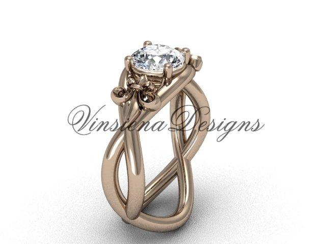 """14kt rose gold Fleur de Lis engagement ring,""""Forever One"""" Moissanite VD10024"""