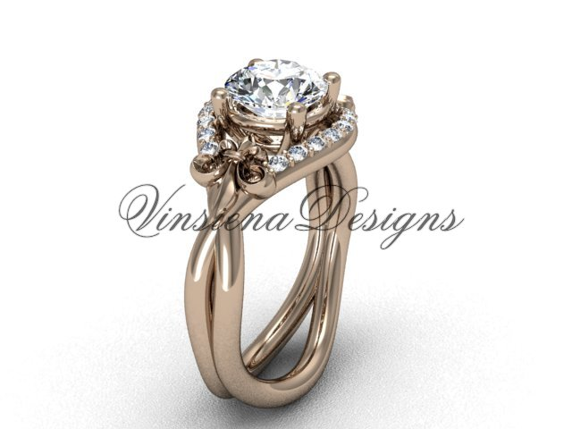 "14kt rose gold diamond Fleur de Lis engagement ring, ""Forever One"" Moissanite VD10026"