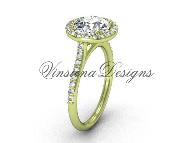 Unique 14kt  yellow gold diamond engagement ring VD10030