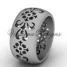 Platinum floral matte finish engagement ring,wedding band VD10035G