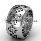 14kt white gold floral engagement ring,wedding band VD10035G