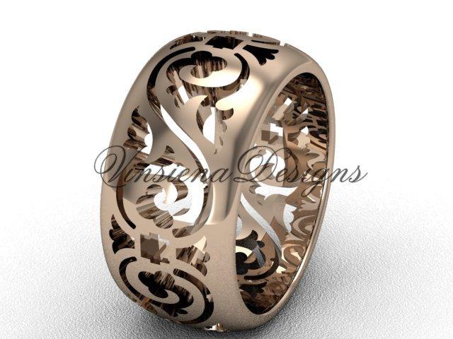 14kt rose gold floral engagement ring,wedding band VD10036G
