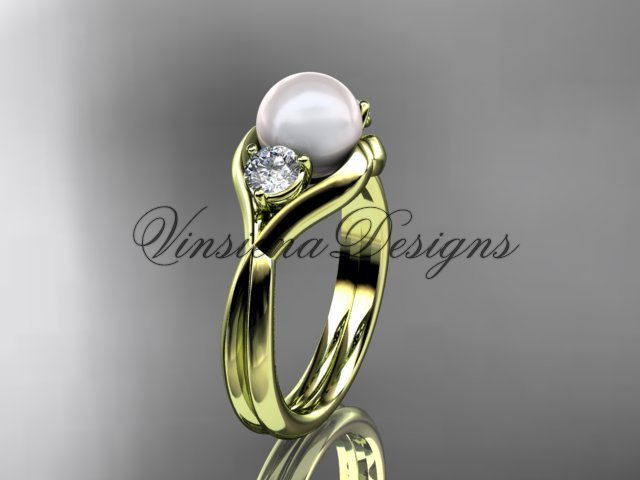 14kt yellow gold Unique Three stone pearl engagement ring VP8220