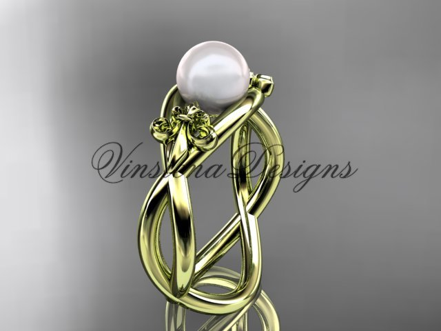 14kt yellow gold Fleur de Lis pearl engagement ring VP10024