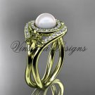 14kt yellow gold diamond Fleur de Lis pearl engagement ring VP10025