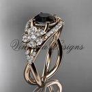 14kt rose gold diamond Cherry Blossom flower, Sakura engagement ring Black Diamond VD8088