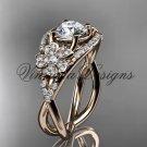 14kt rose gold diamond Cherry Blossom flower, Sakura engagement ring VD8088