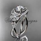 """14kt white gold diamond Cherry Blossom, Sakura engagement ring """"Forever One"""" Moissanite VD8088"""