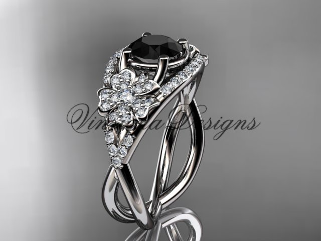 14kt white gold diamond Cherry Blossom flower, Sakura engagement ring Black Diamond VD8088