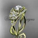 """14kt yellow gold diamond Cherry Blossom, Sakura engagement ring """"Forever One"""" Moissanite VD8088"""