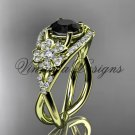 14kt yellow gold diamond Cherry Blossom flower, Sakura engagement ring Black Diamond VD8088