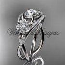 """Platinum diamond Cherry Blossom flower, Sakura engagement ring """"Forever One"""" Moissanite VD8088"""