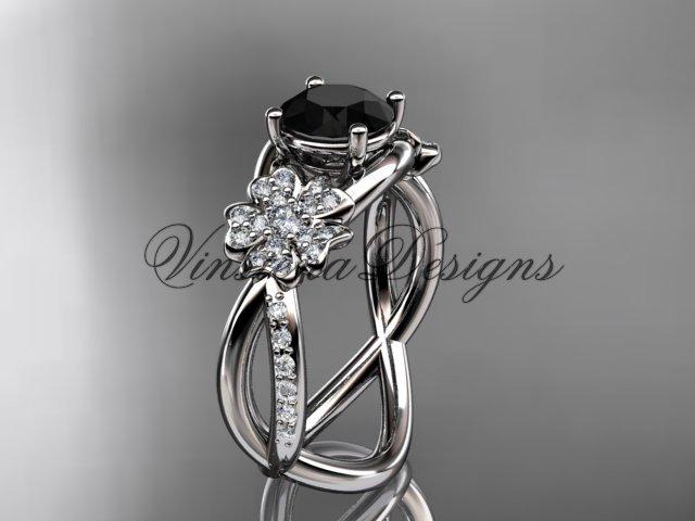 14kt white gold diamond Cherry Blossom flower, Sakura engagement ring Black Diamond VD8090