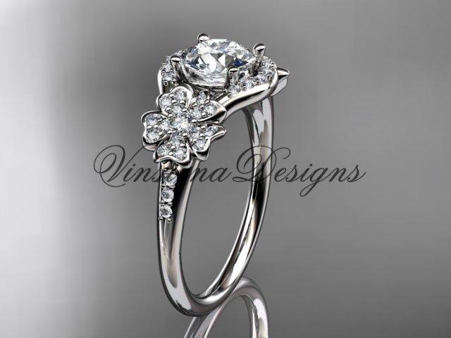 14kt white gold diamond Cherry Blossom flower, Sakura engagement ring VD8091