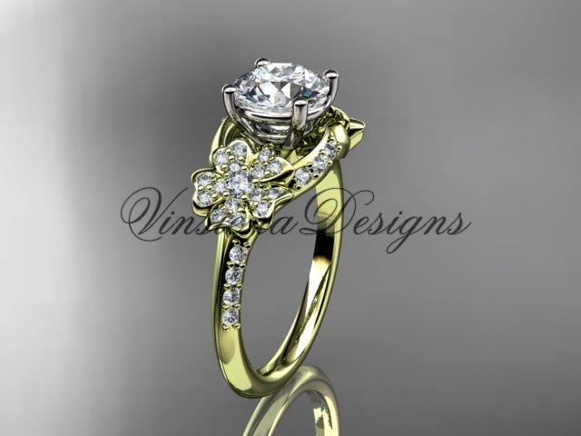 14kt yellow gold diamond Cherry Blossom flower, Sakura engagement ring VD8125