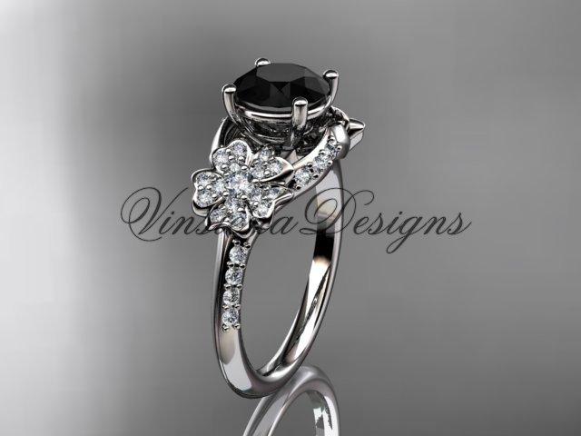 14kt white gold diamond Cherry Blossom , Sakura engagement ring Black Diamond VD8125