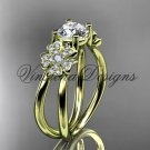 14kt yellow gold diamond Cherry Blossom flower, Sakura engagement ring VD8130