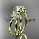 """14kt yellow gold diamond Cherry Blossom , Sakura engagement ring """"Forever One"""" Moissanite VD8130"""