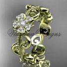 14kt yellow gold diamond Cherry Blossom flower, Sakura engagement ring, wedding band VD8138