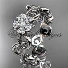 Platinum diamond Cherry Blossom flower, Sakura engagement ring, wedding band VD8138