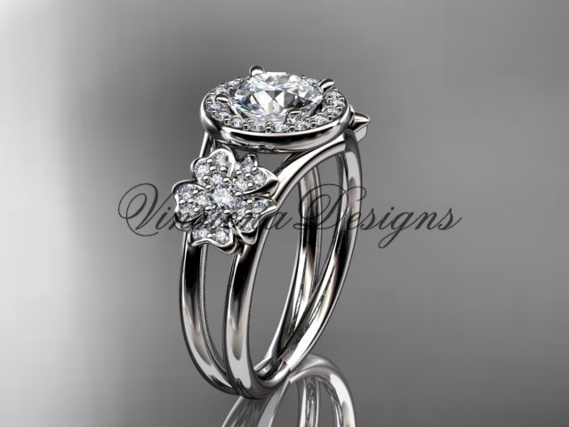 "Platinum diamond Cherry Blossom flower, Sakura engagement ring ""Forever One"" Moissanite VD8131"