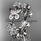 Platinum diamond butterfly, Cherry Blossom, Sakura engagement ring, wedding band VD8139