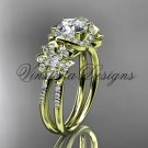 14kt yellow gold  diamond Cherry Blossom flower, Sakura engagement ring VD8140