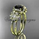 14kt yellow gold diamond Cherry Blossom, Sakura engagement ring Black Diamond VD8140