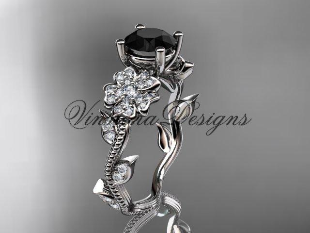 14kt white gold diamond Cherry Blossom flower, Sakura engagement ring, Black Diamond VD8151