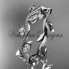 Platinum diamond leaf wedding band VD8151B