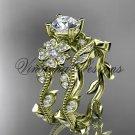14kt yellow gold diamond Cherry Blossom, Sakura engagement ring set, One Moissanite VD8151S