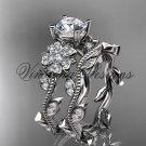 14kt white gold diamond Cherry Blossom, Sakura engagement ring set, One Moissanite VD8151S