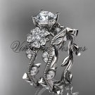 Platinum diamond Cherry Blossom flower, Sakura engagement ring set, One Moissanite VD8151S
