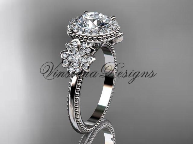 14kt white gold diamond Cherry Blossom flower, Sakura engagement ring VD8157