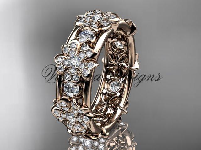 14k rose gold diamond Cherry Blossom flower, Sakura wedding band VD8160