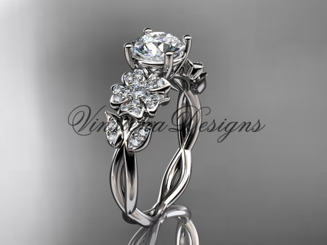 14kt white gold diamond Cherry Blossom flower, Sakura engagement ring VD10043