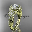 14kt yellow gold diamond Cherry Blossom flower, Sakura engagement ring One Moissanite VD10039