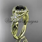 14kt yellow gold diamond Cherry Blossom flower, Sakura engagement ring Black Diamond VD10039