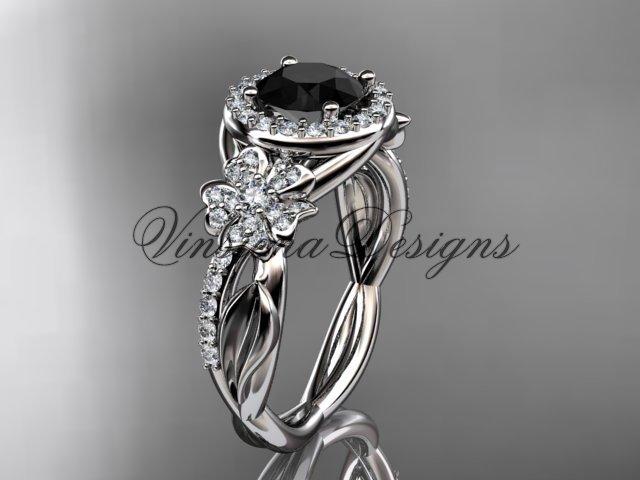 114kt white gold diamond Cherry Blossom flower, Sakura engagement ring Black Diamond VD10039
