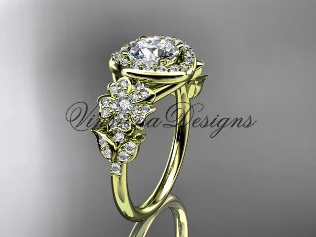 14kt yellow gold diamond Cherry Blossom flower, Sakura engagement ring, Moissanite VD8201L