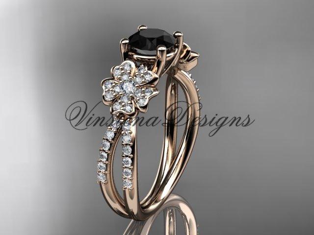 14kt rose gold diamond Cherry Blossom flower, Sakura engagement ring Black Diamond VD8214