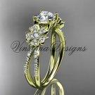 14kt yellow gold diamond Cherry Blossom flower, Sakura engagement ring VD8214