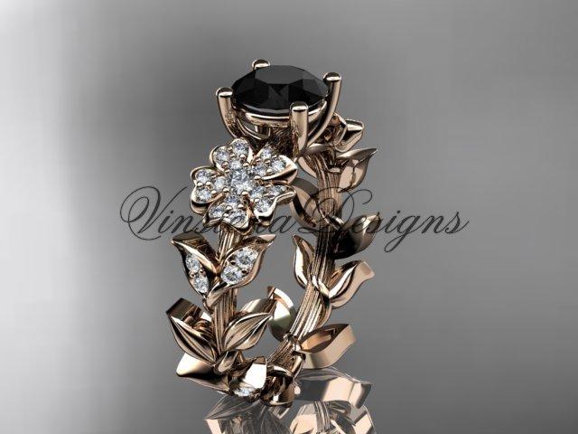 14kt rose gold diamond Cherry Blossom flower, Sakura engagement ring Black Diamond VD8215