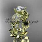 14kt yellow gold diamond Cherry Blossom flower, Sakura engagement ring VD8215