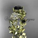 14kt yellow gold diamond Cherry Blossom flower, Sakura engagement ring Black Diamond VD8215