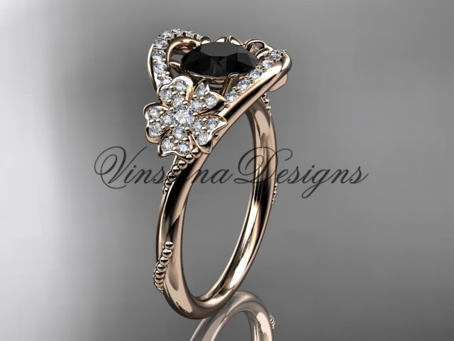 14kt rose gold diamond Cherry Blossom flower, Sakura engagement ring Black Diamond VD8326